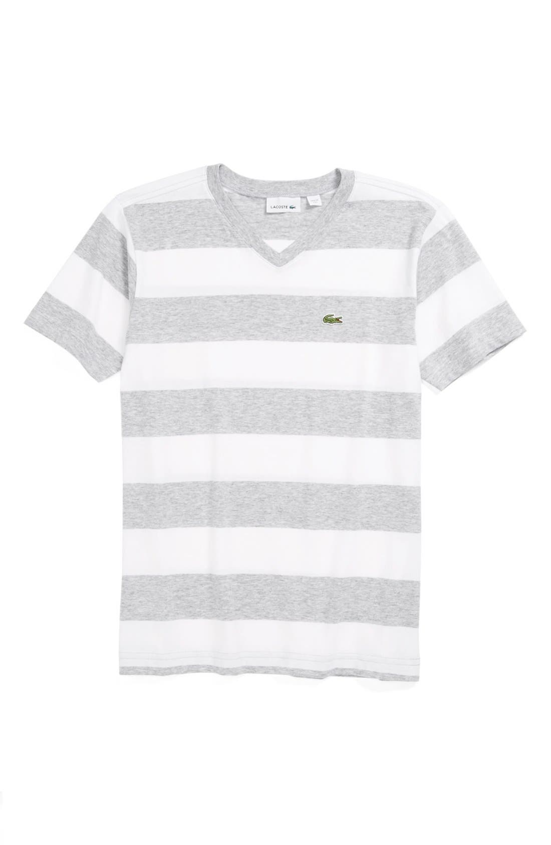 Main Image - Lacoste Stripe V-Neck T-Shirt (Little Boys & Big Boys)