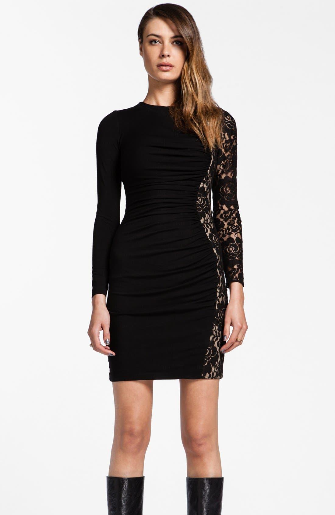 Alternate Image 1 Selected - Cynthia Steffe 'Jordana' Asymmetrical Lace Ruched Sheath Dress