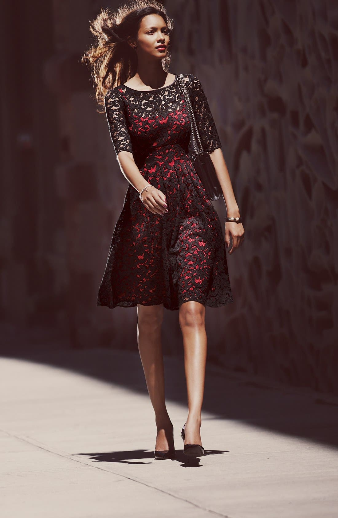 Alternate Image 2  - Adrianna Papell Lace Overlay Fit & Flare Dress (Regular & Petite)