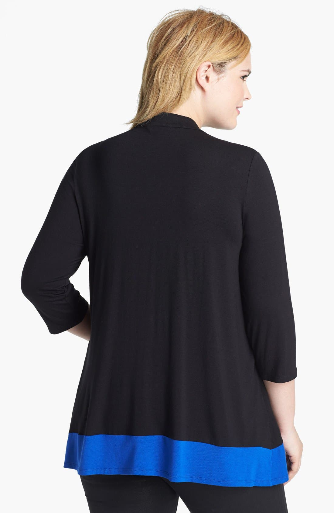 Alternate Image 2  - Evans Colorblock Cardigan with Faux Camisole Insert (Plus Size)