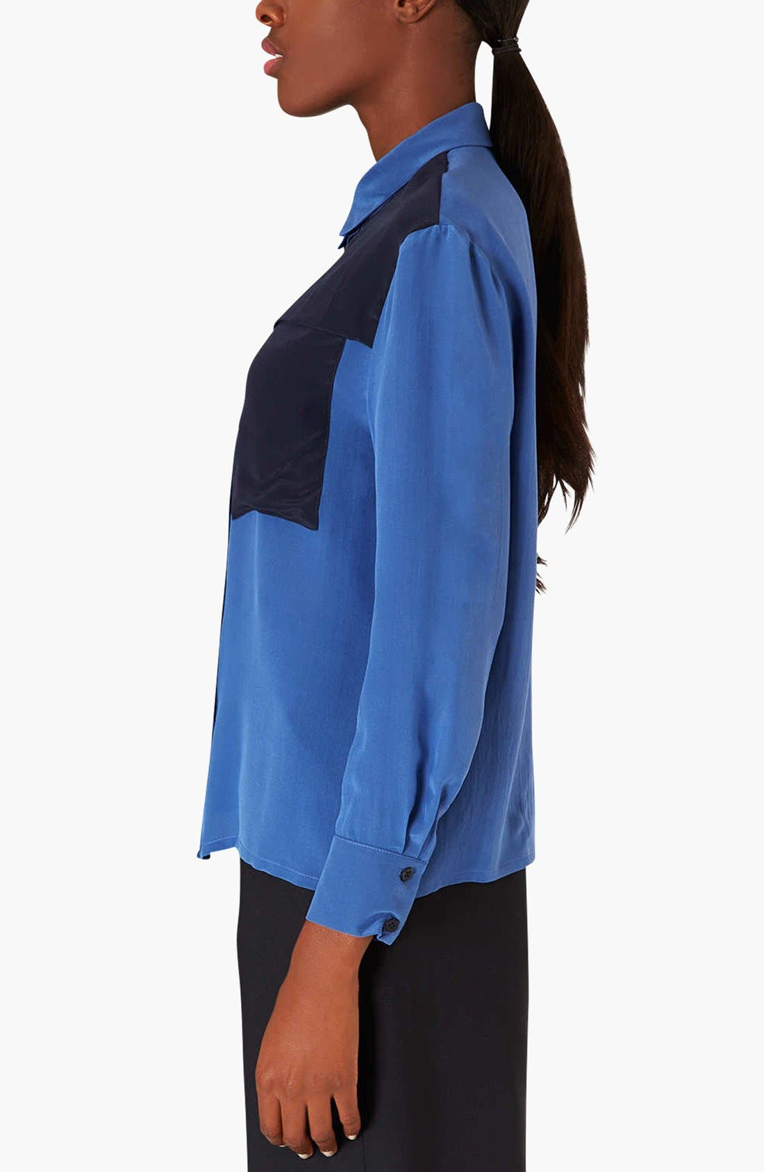 Alternate Image 3  - Topshop Colorblock Silk Shirt