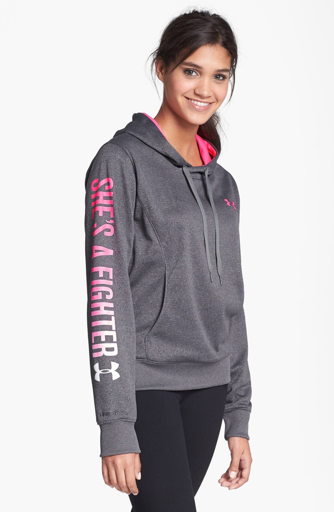 Main Image - Under Armour 'Power in Pink - She's a Fighter' Hooded Sweatshirt
