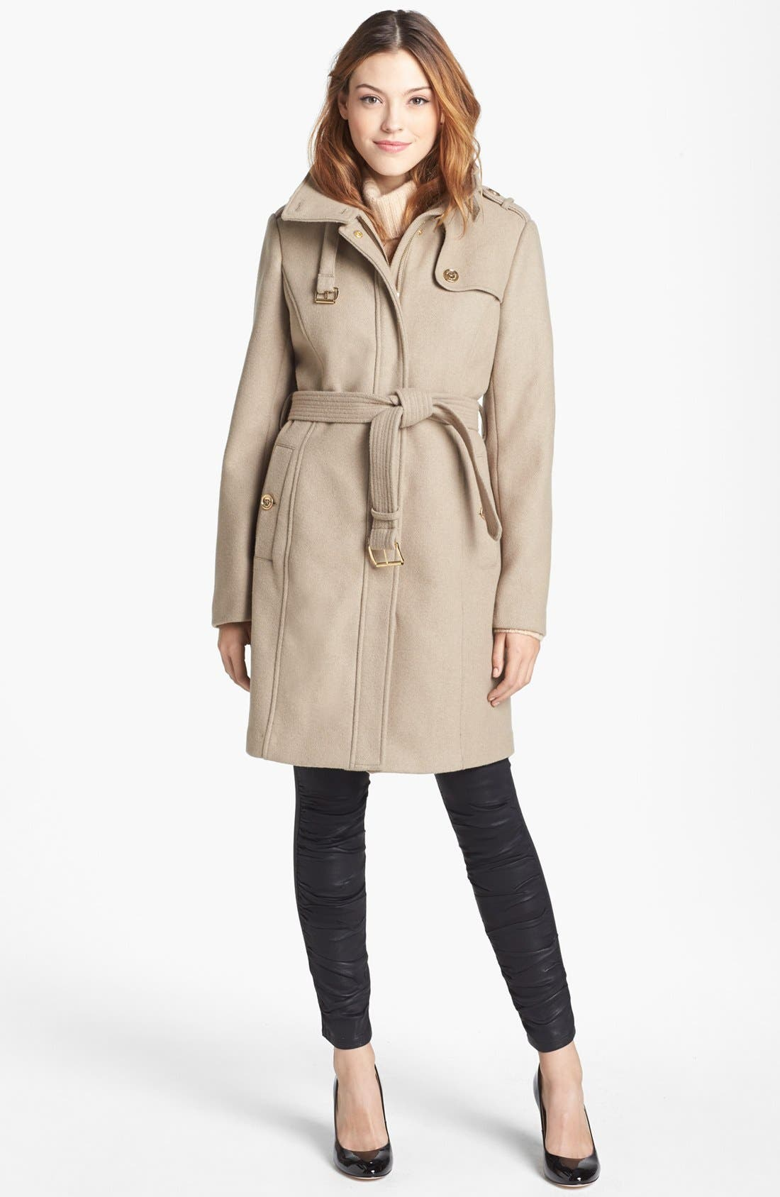 Alternate Image 1 Selected - MICHAEL Michael Kors Wool Blend Military Trench Coat (Nordstrom Exclusive)