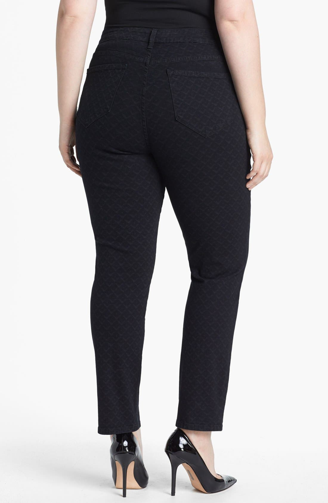 Alternate Image 2  - NYDJ 'Sheri' Print Stretch Skinny Jeans (Plus Size)
