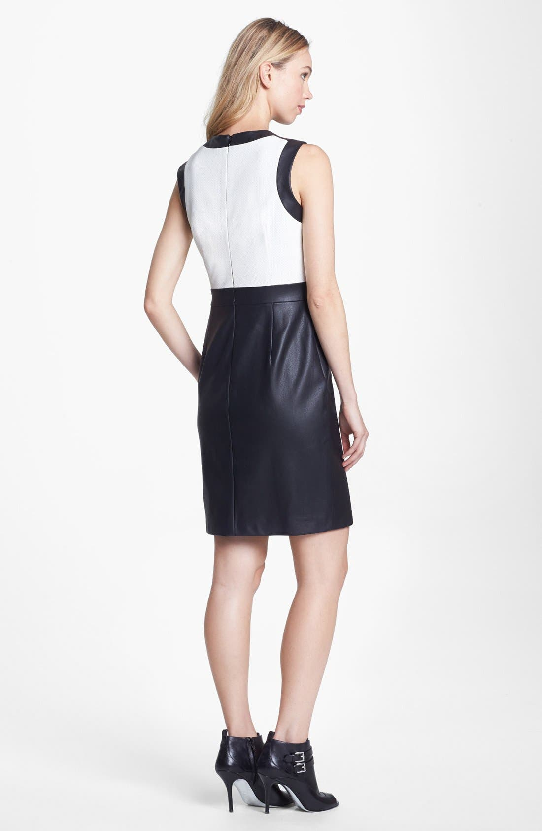 Alternate Image 2  - Vince Camuto Colorblock Perforated Faux Leather Sheath Dress