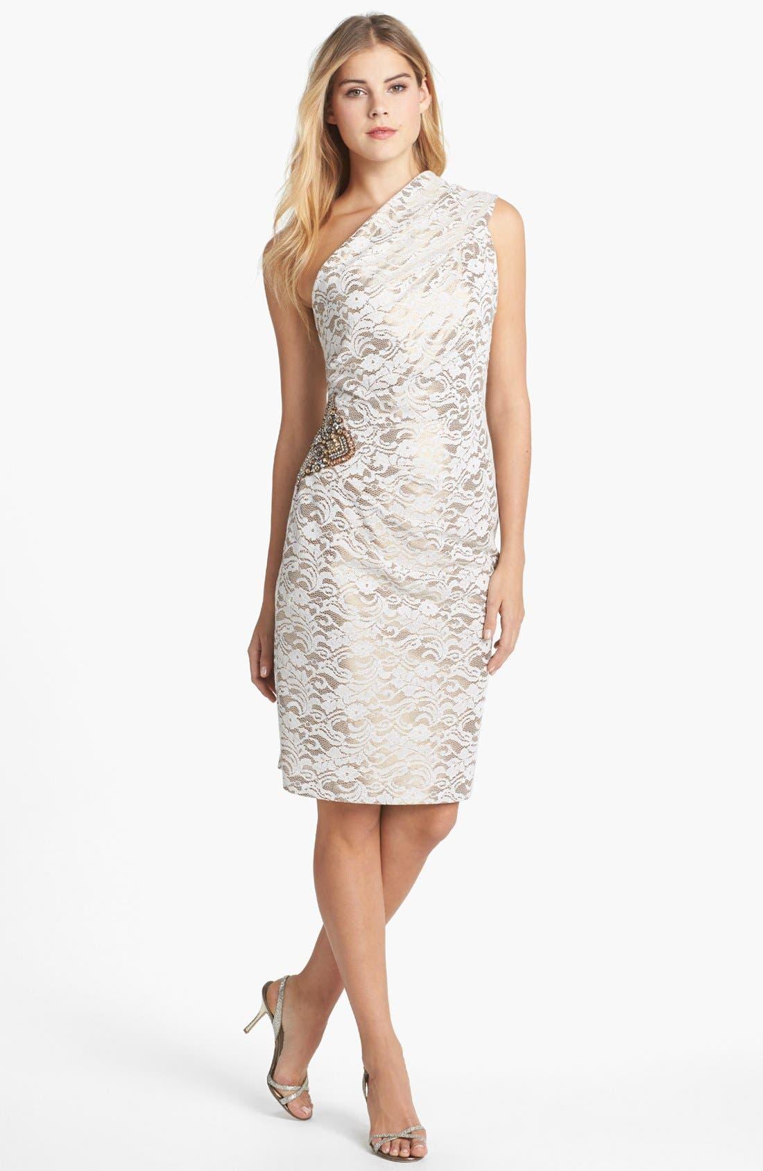 Alternate Image 1 Selected - Eliza J Embellished One-Shoulder Lace Sheath Dress
