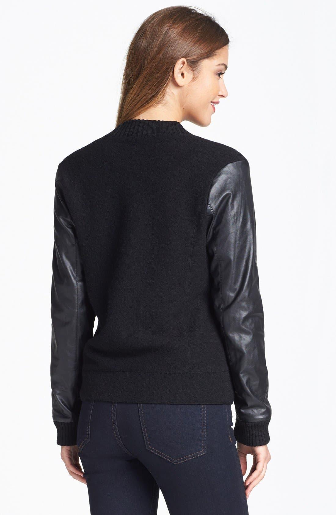 Alternate Image 4  - Halogen® Wool & Faux Leather Jacket (Regular & Petite)
