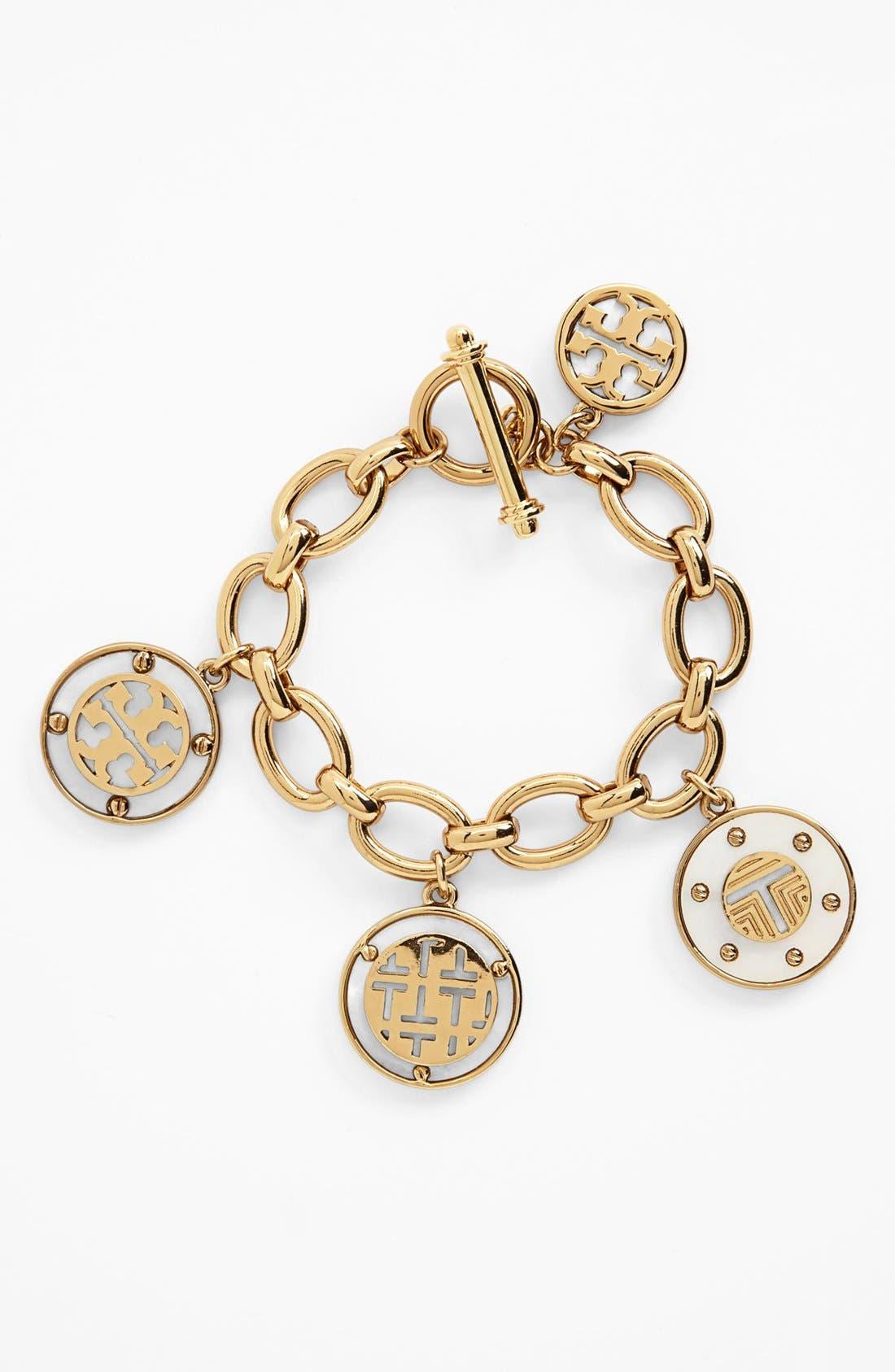 Alternate Image 1 Selected - Tory Burch 'Wren Logo T' Charm Bracelet