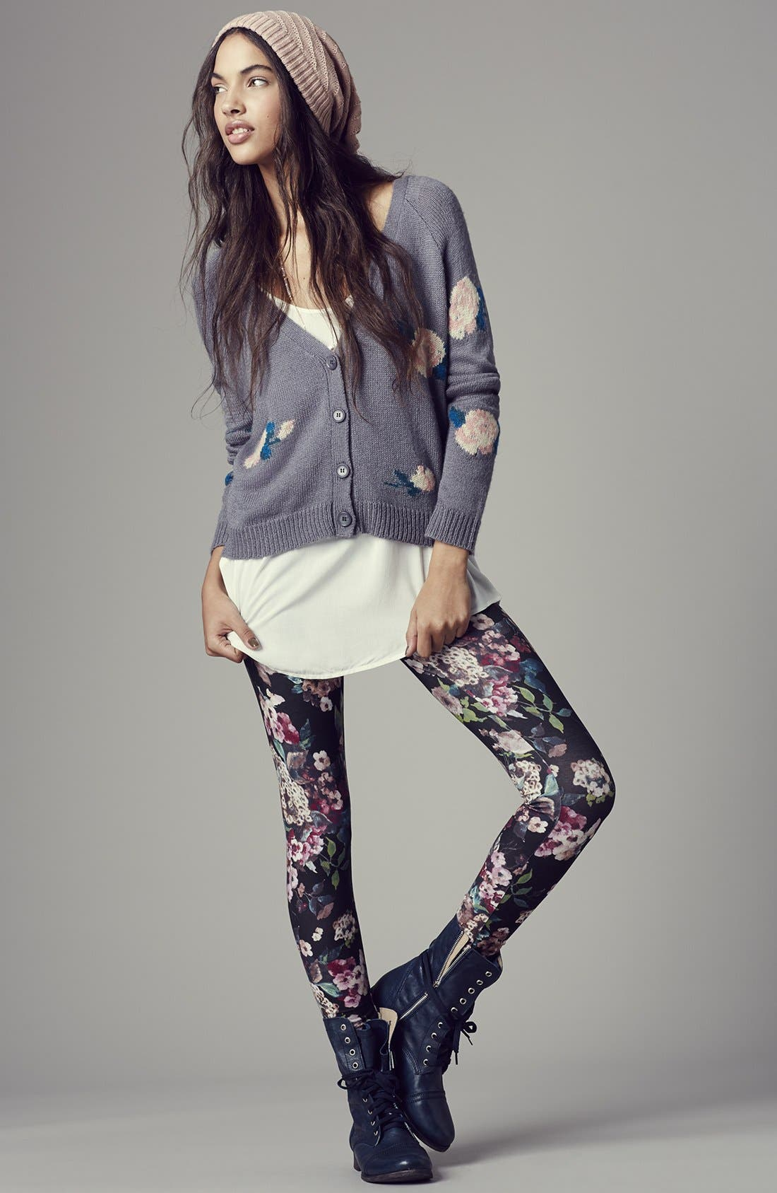 Alternate Image 4  - Love By Design Tie Back Floral High/Low Cardigan (Juniors)