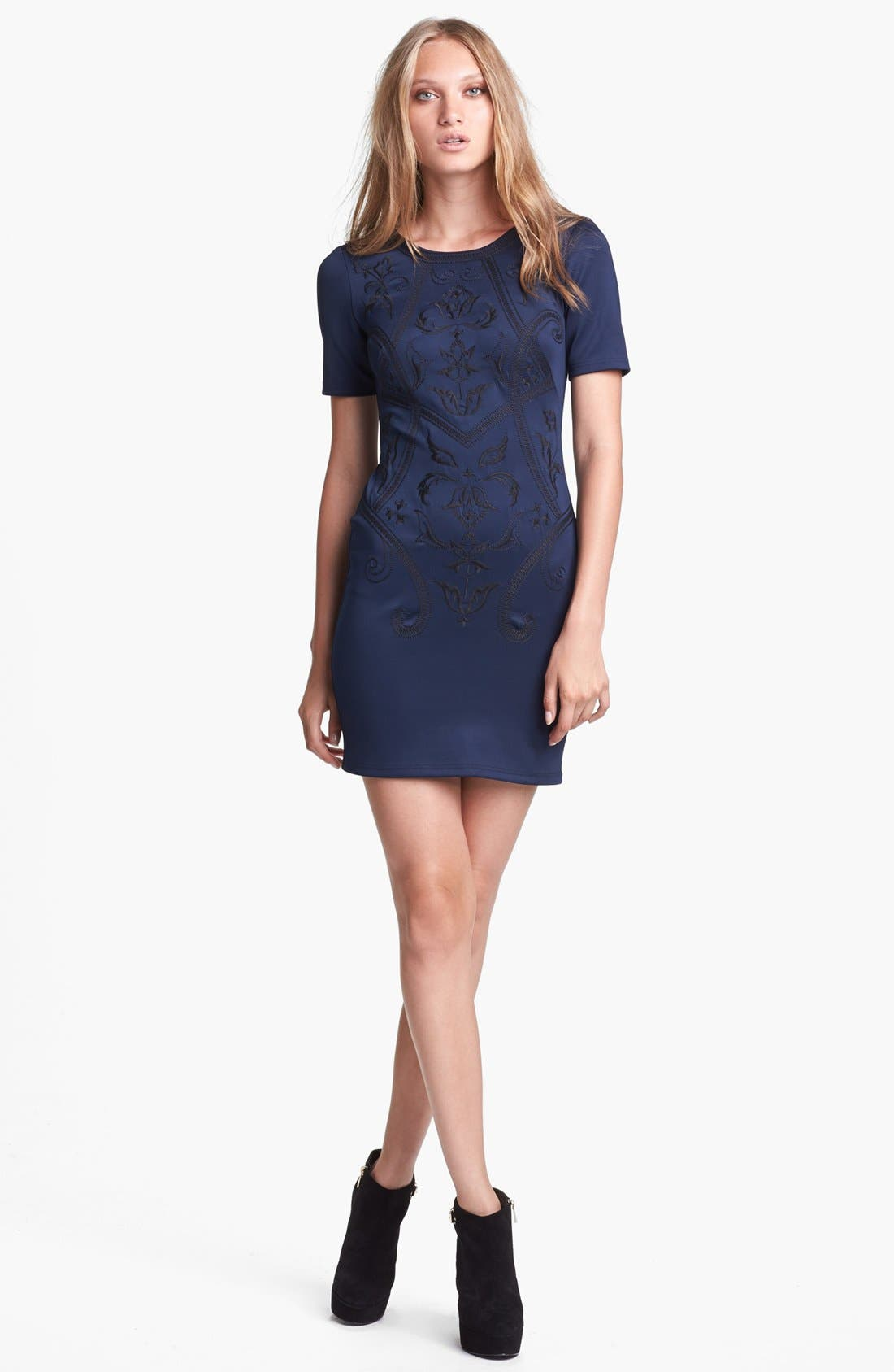 Main Image - ASTR Embroidered Body-Con Dress