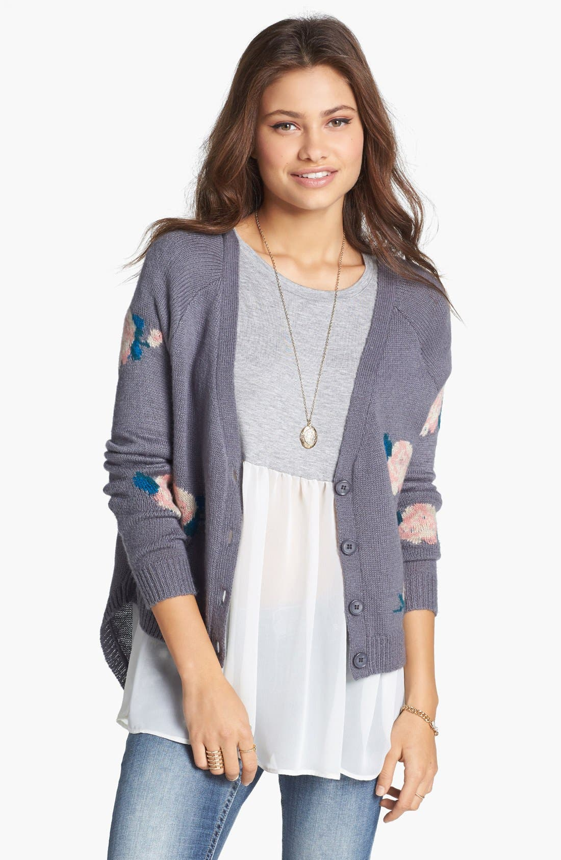 Main Image - Love By Design Tie Back Floral High/Low Cardigan (Juniors)