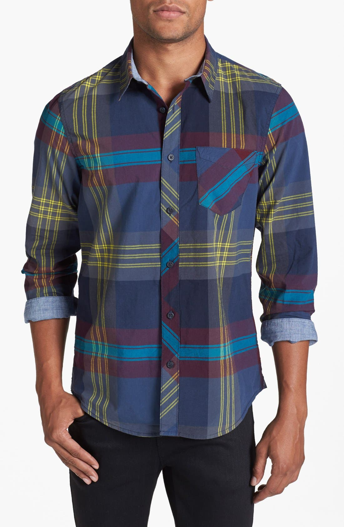 Main Image - 1901 Plaid Poplin Shirt