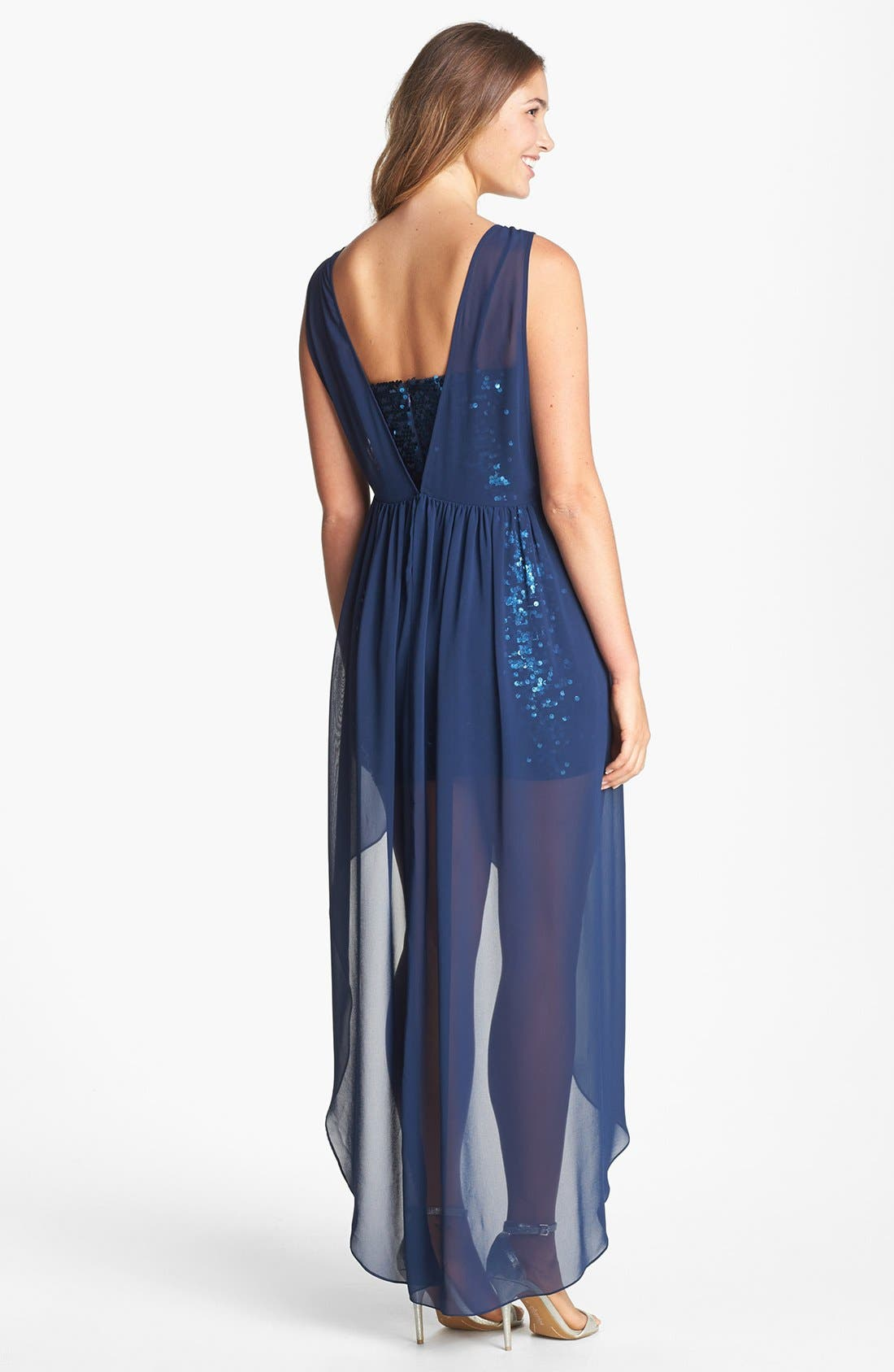 Alternate Image 2  - BCBGMAXAZRIA Sequin & Sheer Chiffon High/Low Dress