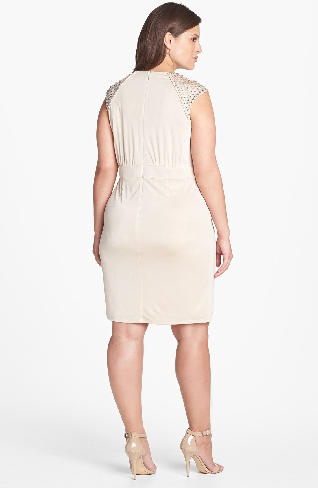 Alternate Image 2  - Vince Camuto Embellished Faux Wrap Dress (Plus Size)