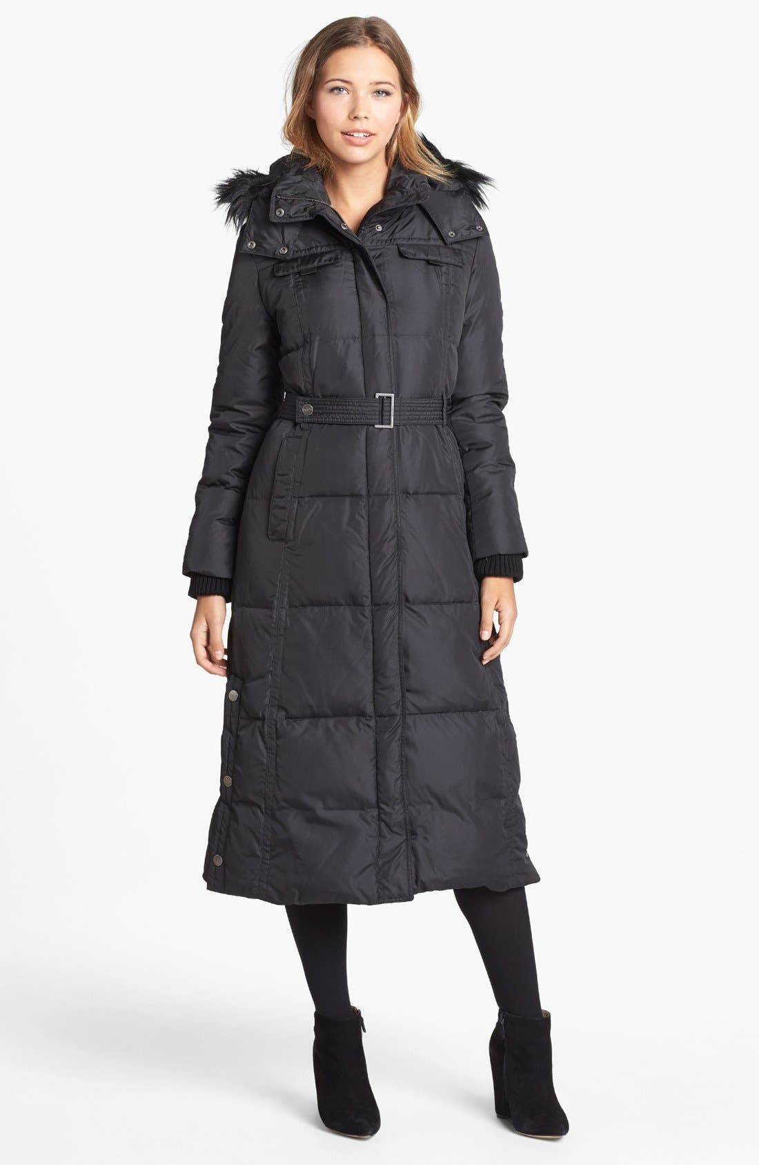 Main Image - DKNY Faux Fur Trim Belted Down & Feather Coat