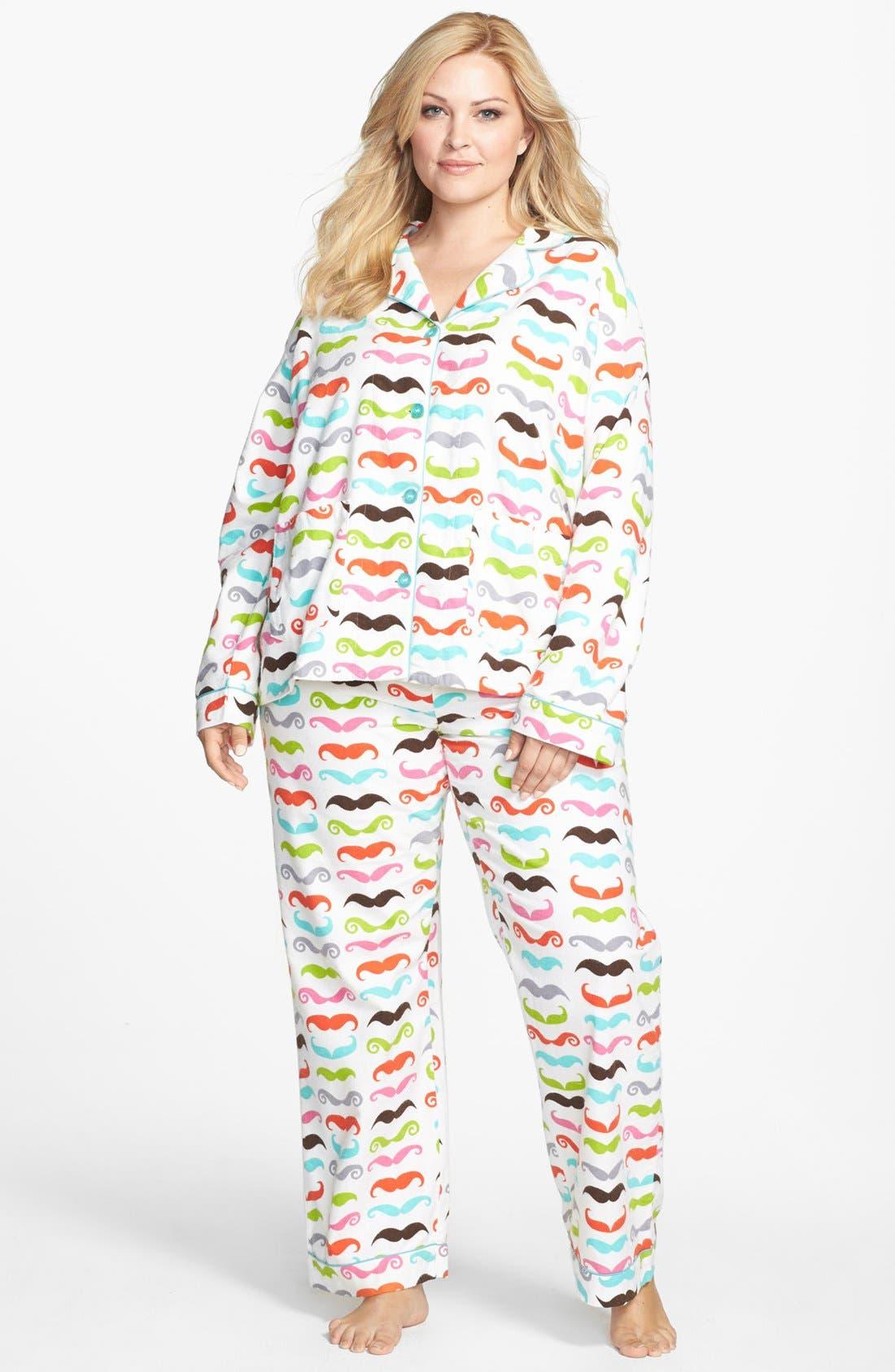 Alternate Image 3  - PJ Salvage Print Flannel Pajamas (Plus Size)