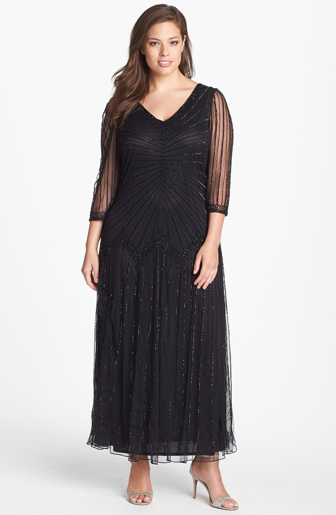 Main Image - Pisarro Nights Embellished Illusion Sleeve Mesh Gown (Plus Size)