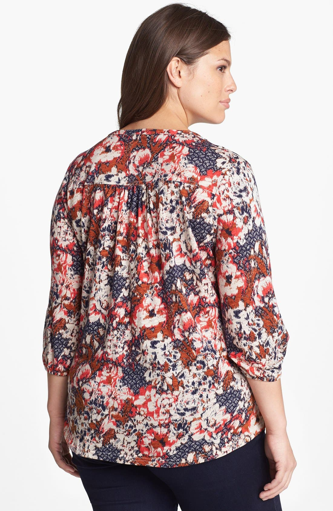 Alternate Image 2  - Lucky Brand 'Cambria' Floral Print Cotton Blend Top (Plus Size)