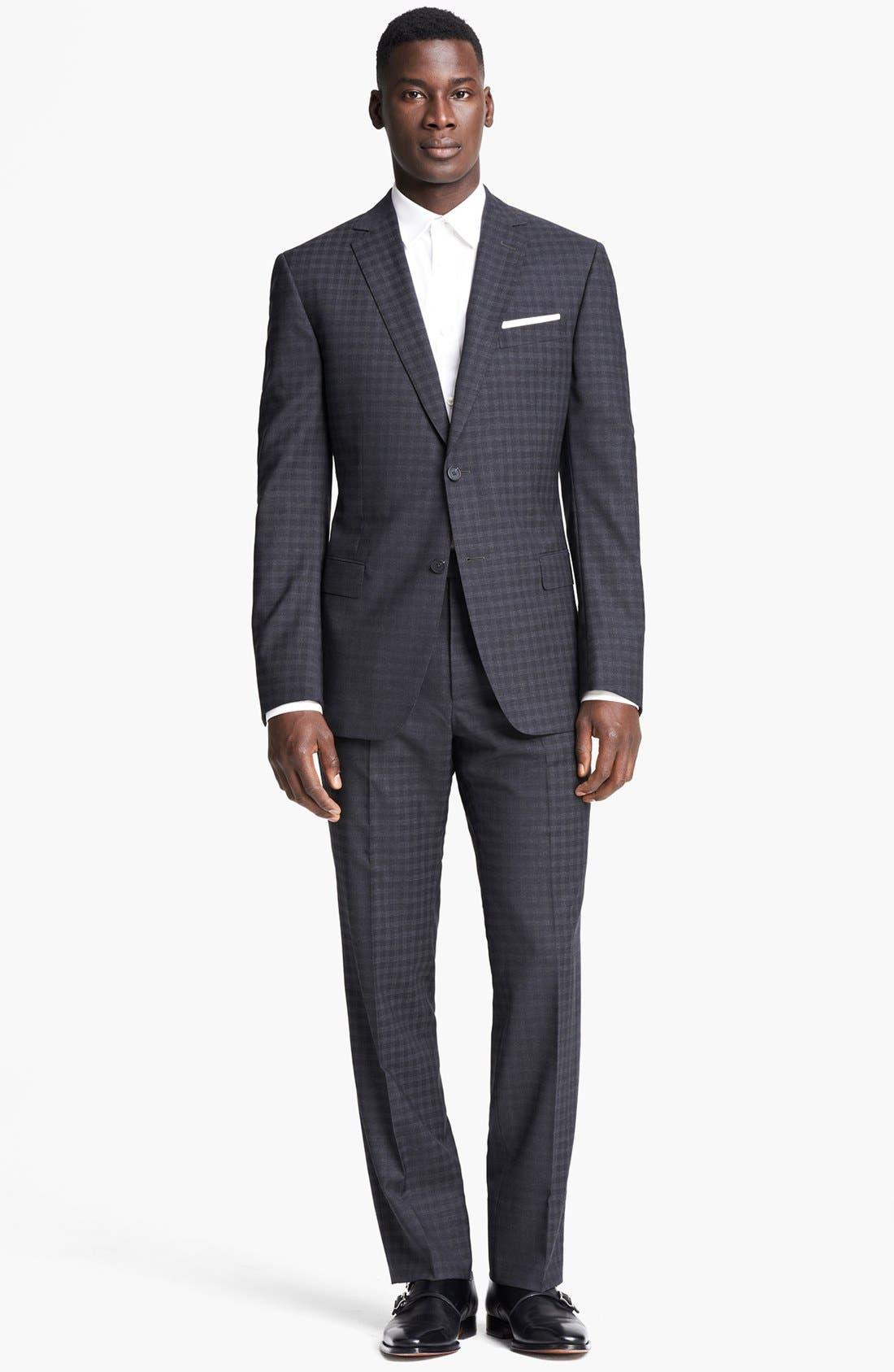 Alternate Image 1 Selected - Z Zegna 'City' Dark Grey Check Wool Suit
