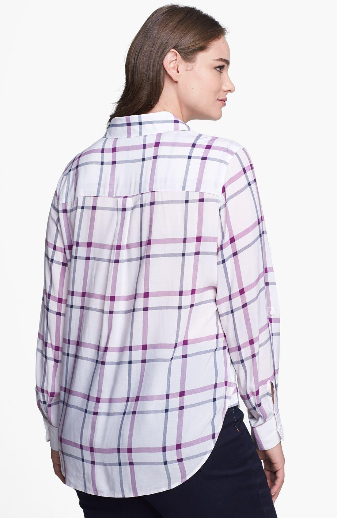 Alternate Image 2  - Foxcroft Windowpane Plaid Shirt (Plus Size)