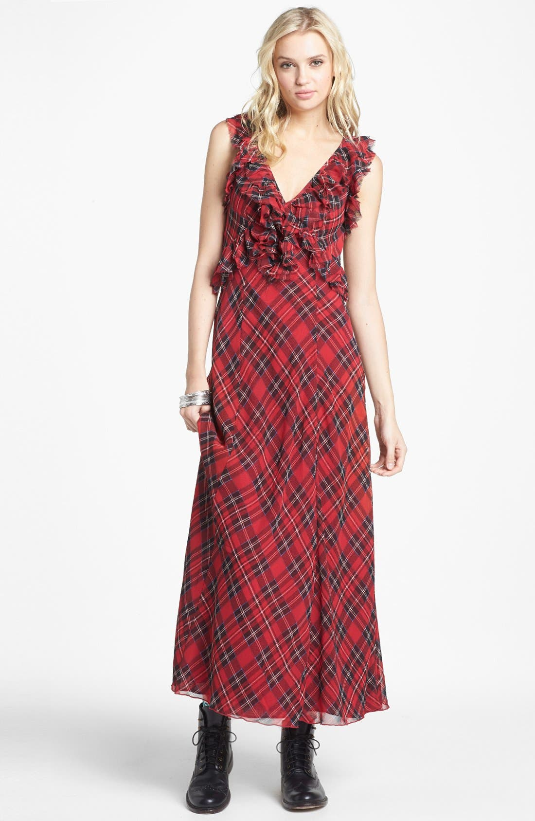 Main Image - Free People 'Venitia' Ruffled Plaid Maxi Dress
