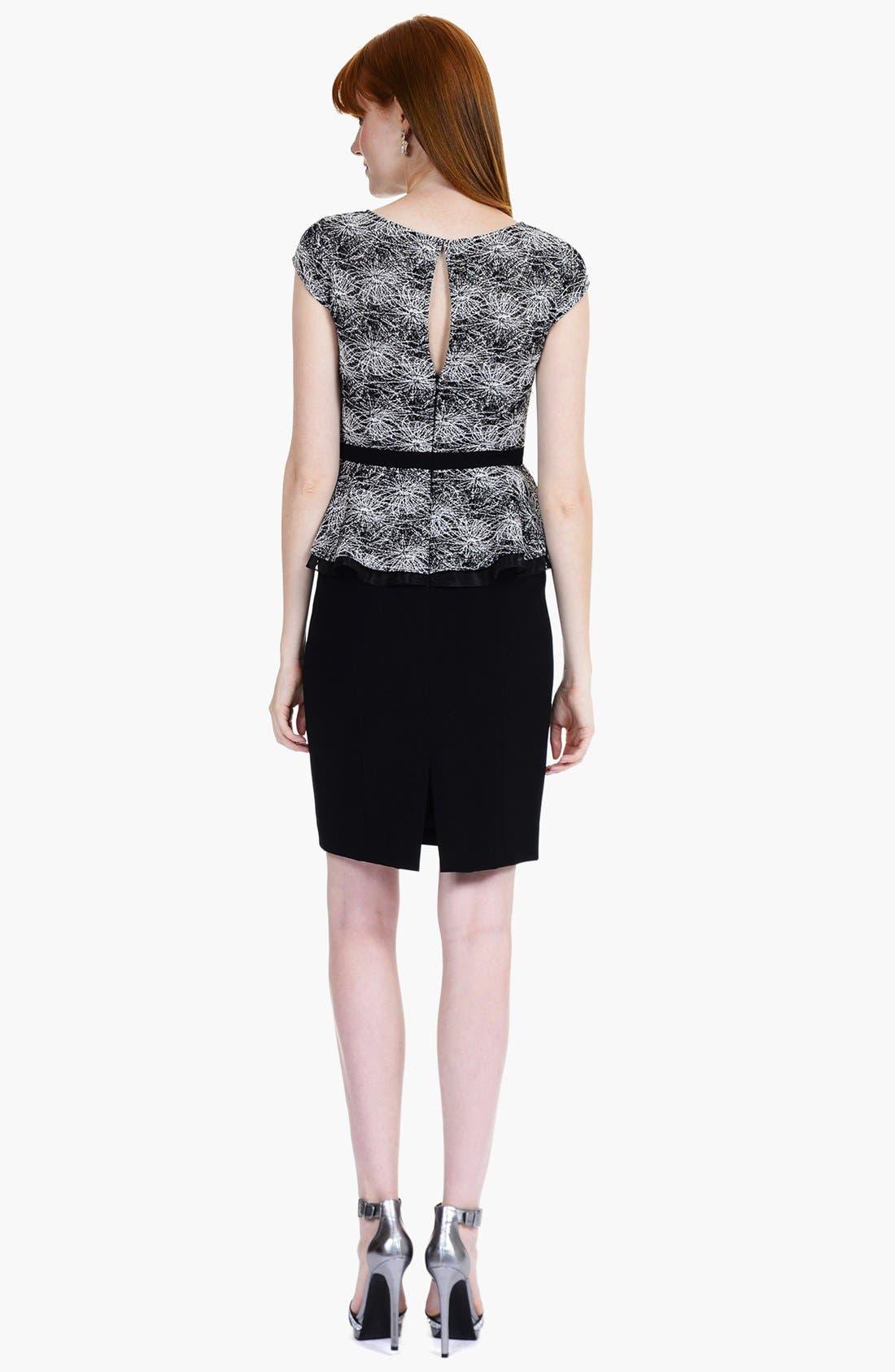 Alternate Image 2  - Kay Unger Print Lace Peplum Sheath Dress