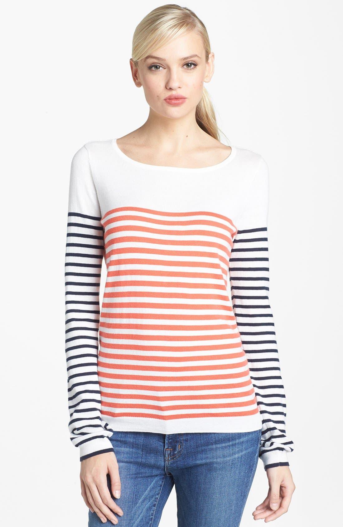 Alternate Image 1 Selected - Hinge® Mix Stripe Cotton Sweater