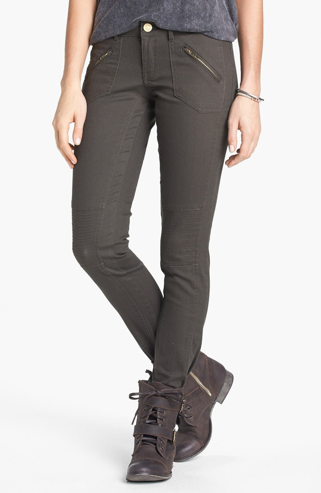 Main Image - INSTANT VINTAGE Moto Skinny Jeans (Army Green) (Juniors) (Online Only)