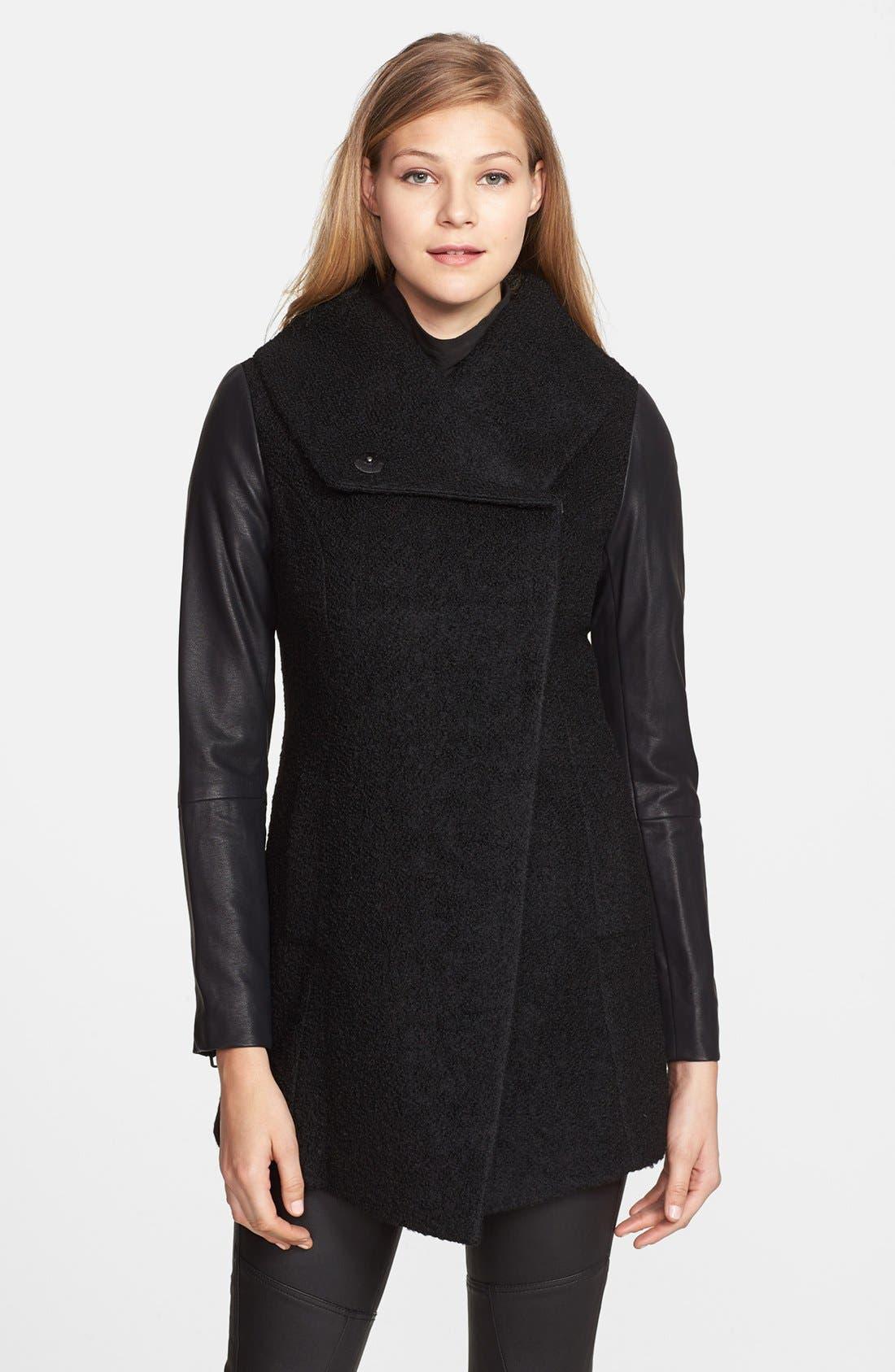 Main Image - Steve Madden Faux Leather Sleeve Bouclé Coat