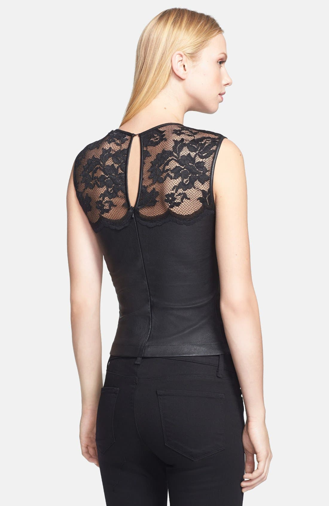 Alternate Image 2  - Robert Rodriguez Lace & Leather Top