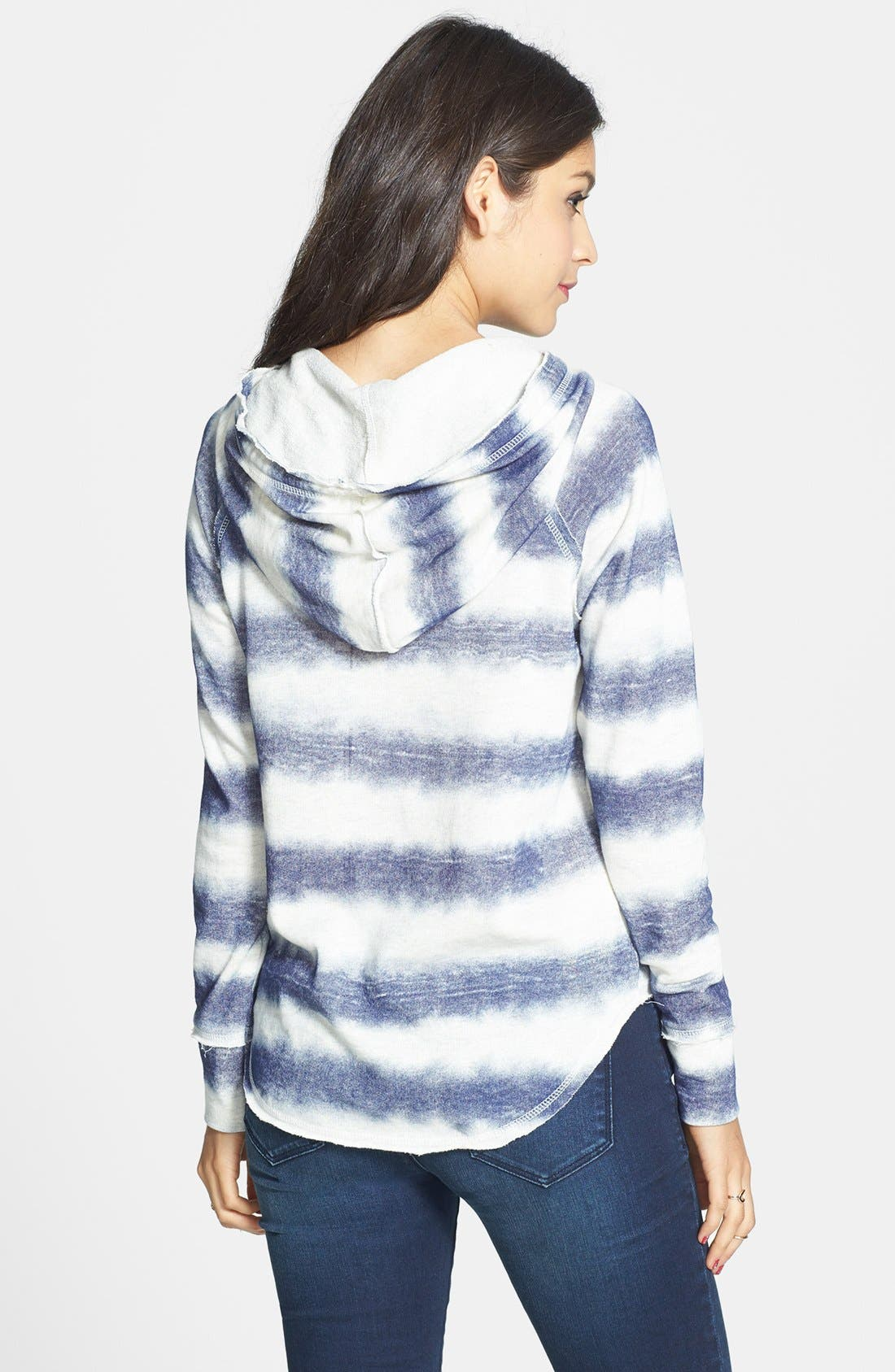Alternate Image 2  - Love on a Hanger Stripe Cotton Hoodie (Juniors)