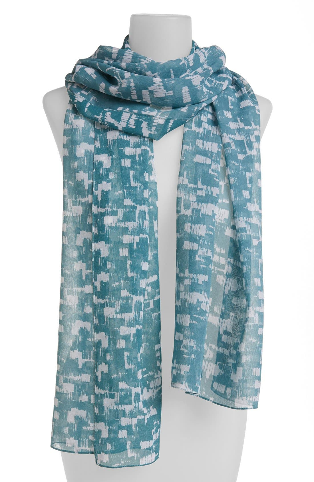 Main Image - St. John Collection Stamped Print Silk Georgette Scarf