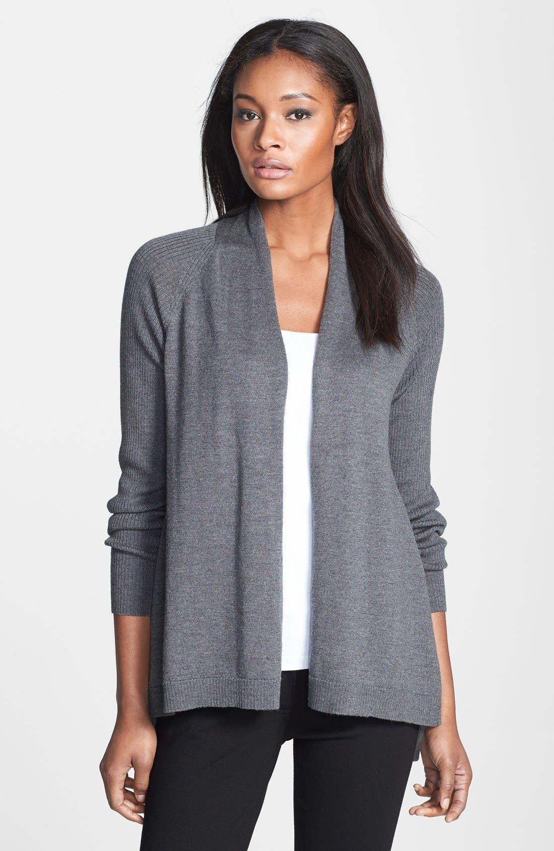 Alternate Image 1 Selected - Eileen Fisher Raglan Sleeve Merino Wool Cardigan (Regular & Petite)
