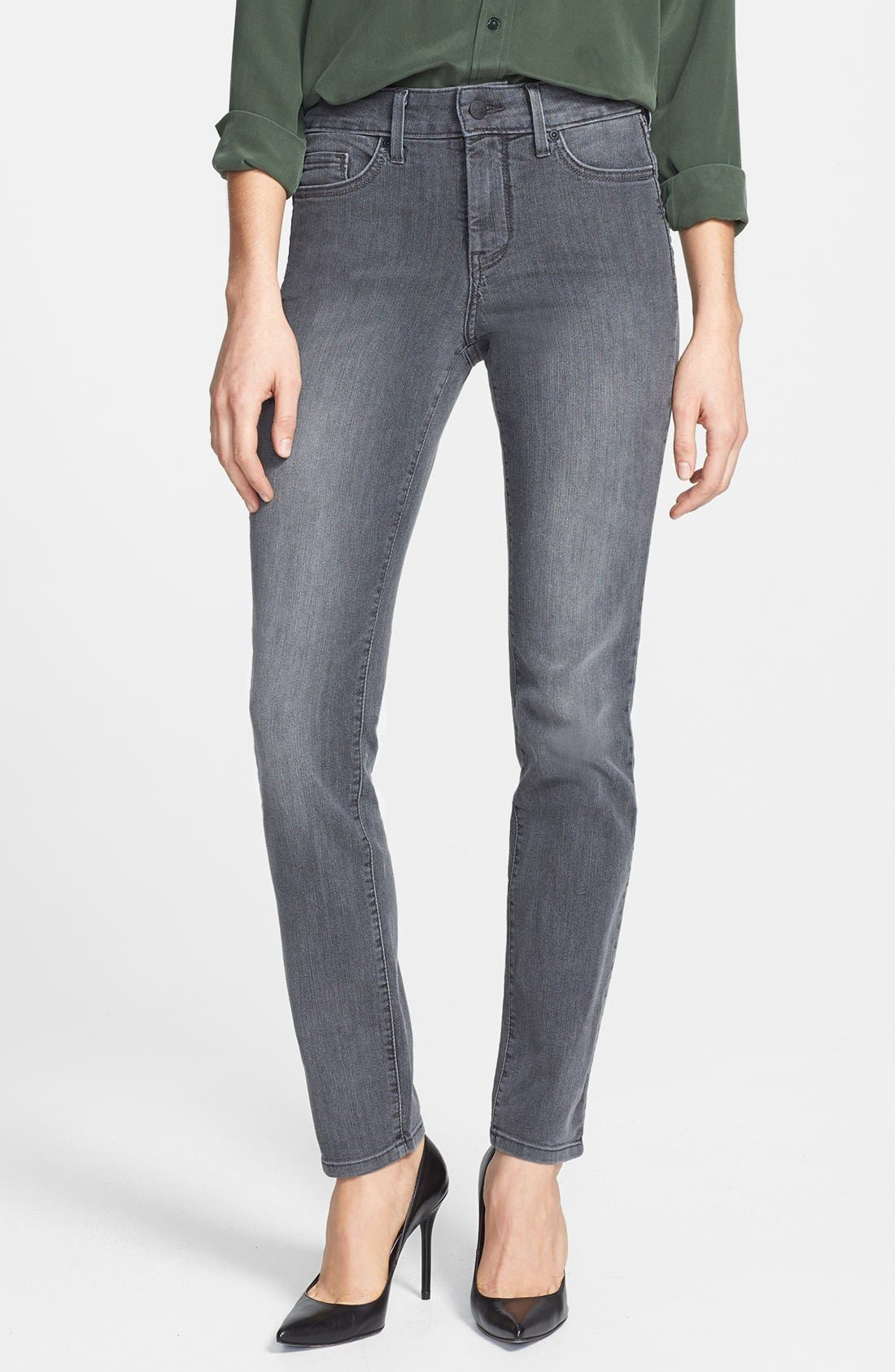 Main Image - NYDJ 'Alina' Stretch Skinny Jeans (Basalt) (Petite)