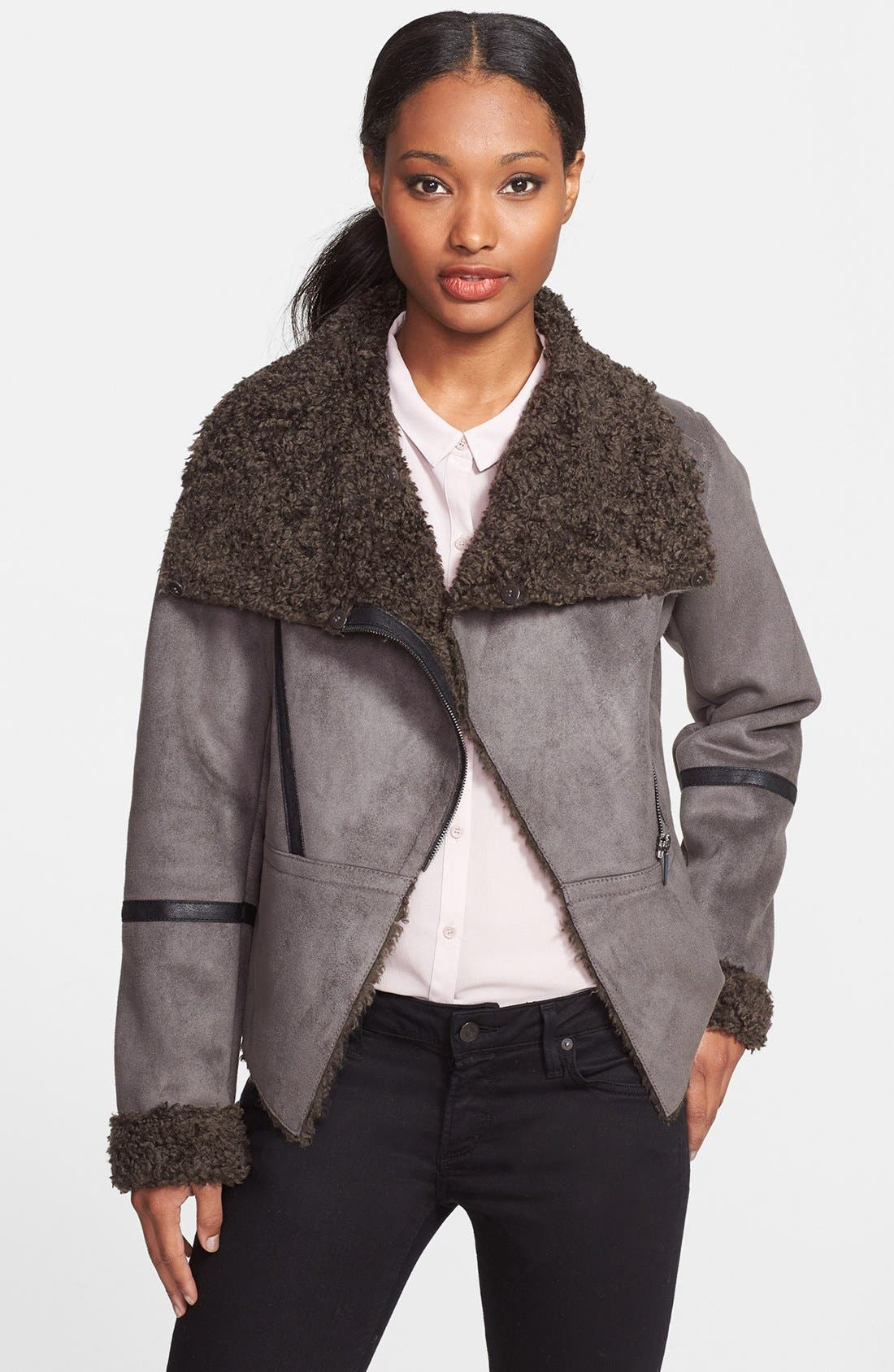 Alternate Image 4  - Laundry by Shelli Segal Faux Shearling Asymmetrical Jacket (Online Only)