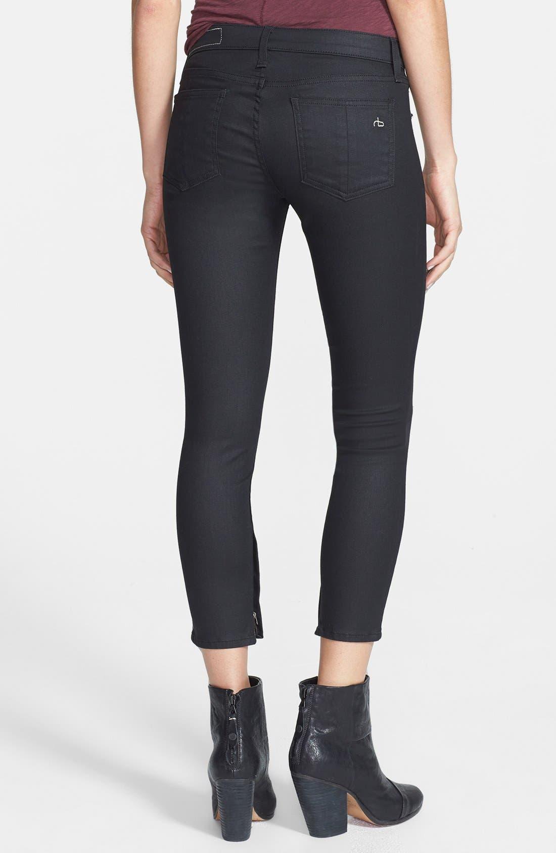 Alternate Image 2  - rag & bone/JEAN Coated Zip Cuff Crop Jeans (Cotswald)