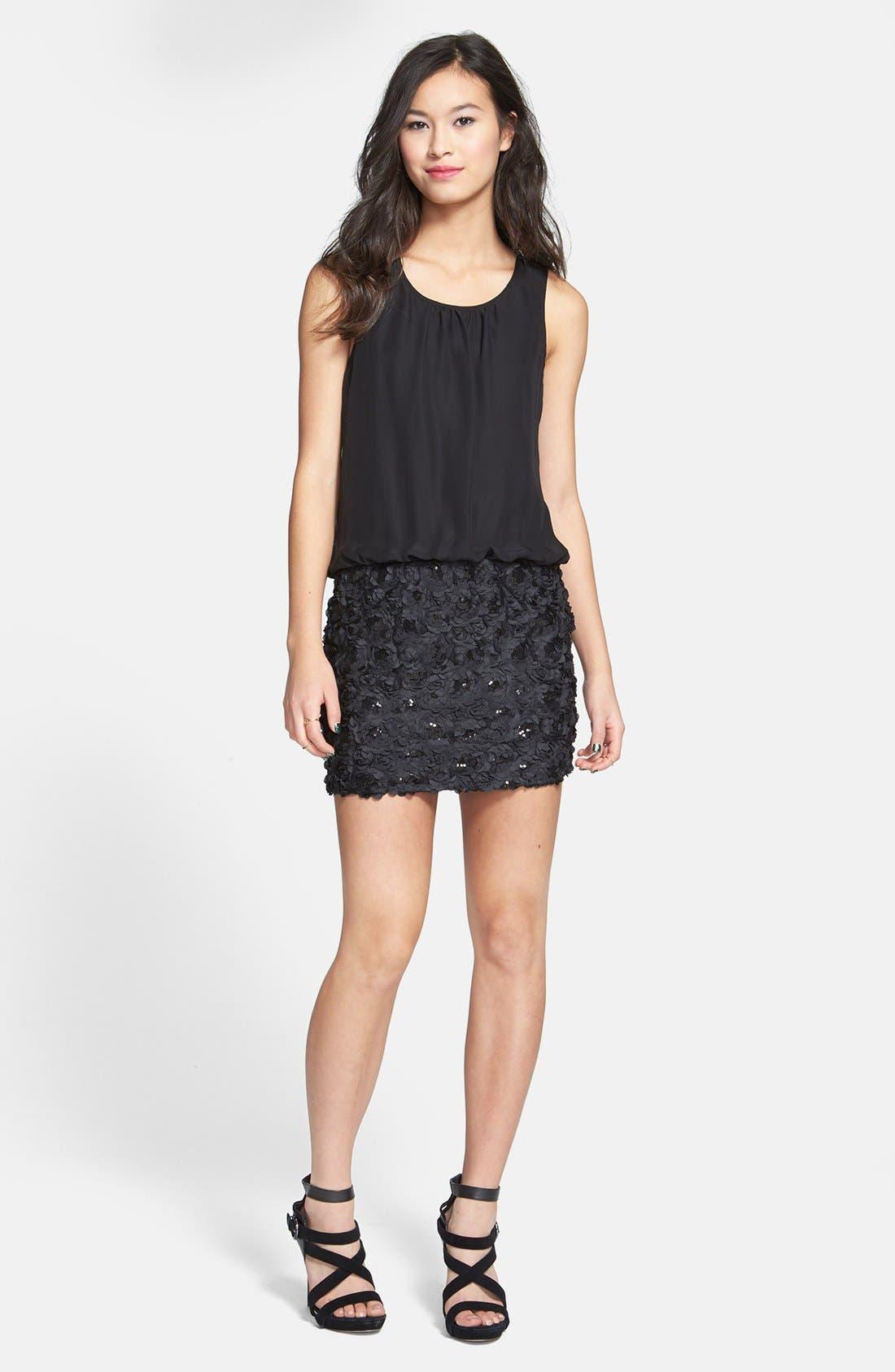 Alternate Image 1 Selected - As U Wish Textured Blouson Dress (Juniors)