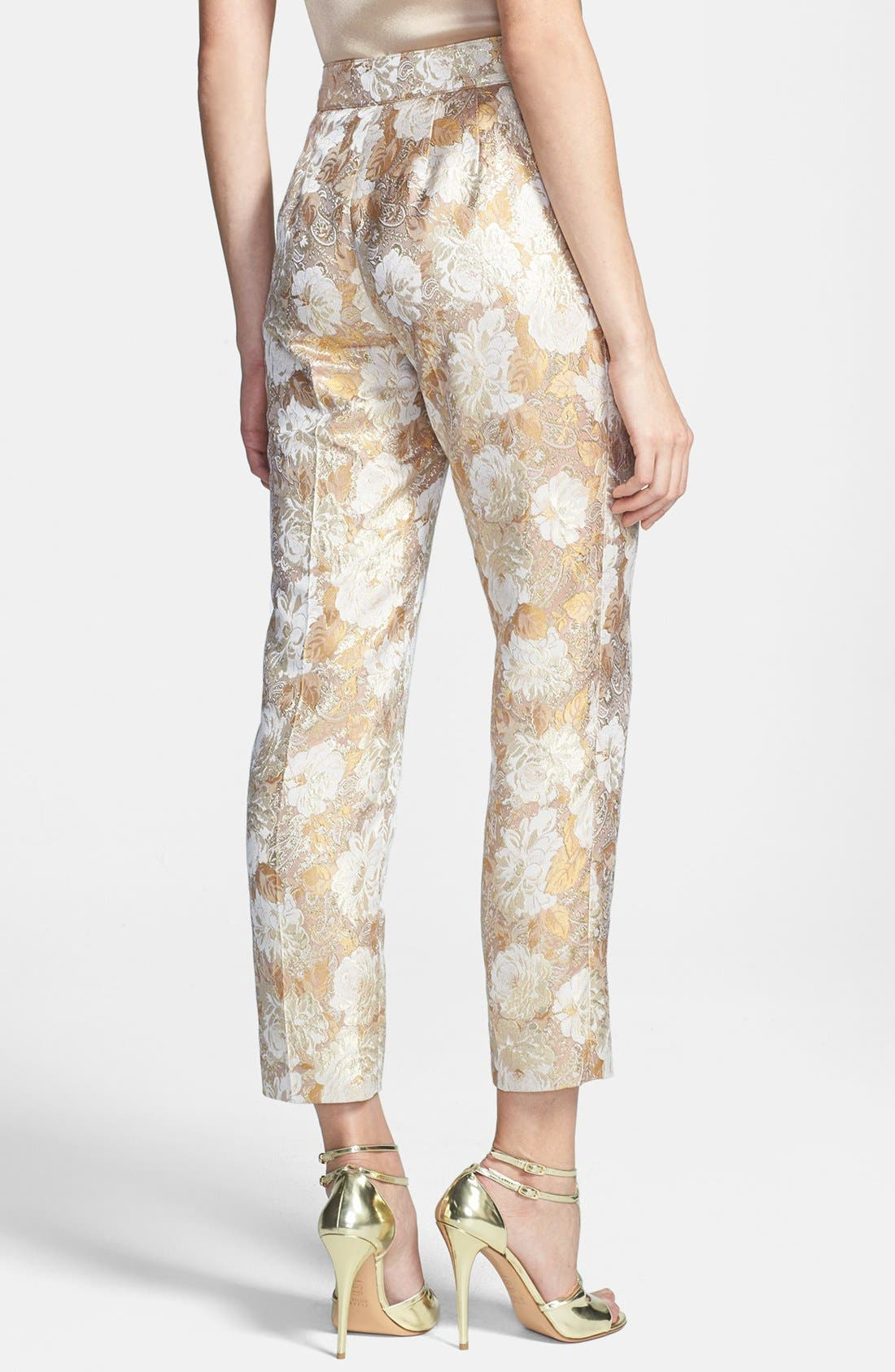 Alternate Image 4  - St. John Collection 'Emma' Side Zip Floral Brocade Crop Pants