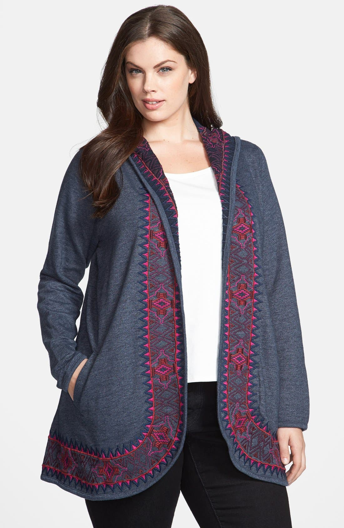 Alternate Image 1 Selected - Lucky Brand 'Moroccan' Embroidered Cardigan (Plus Size)