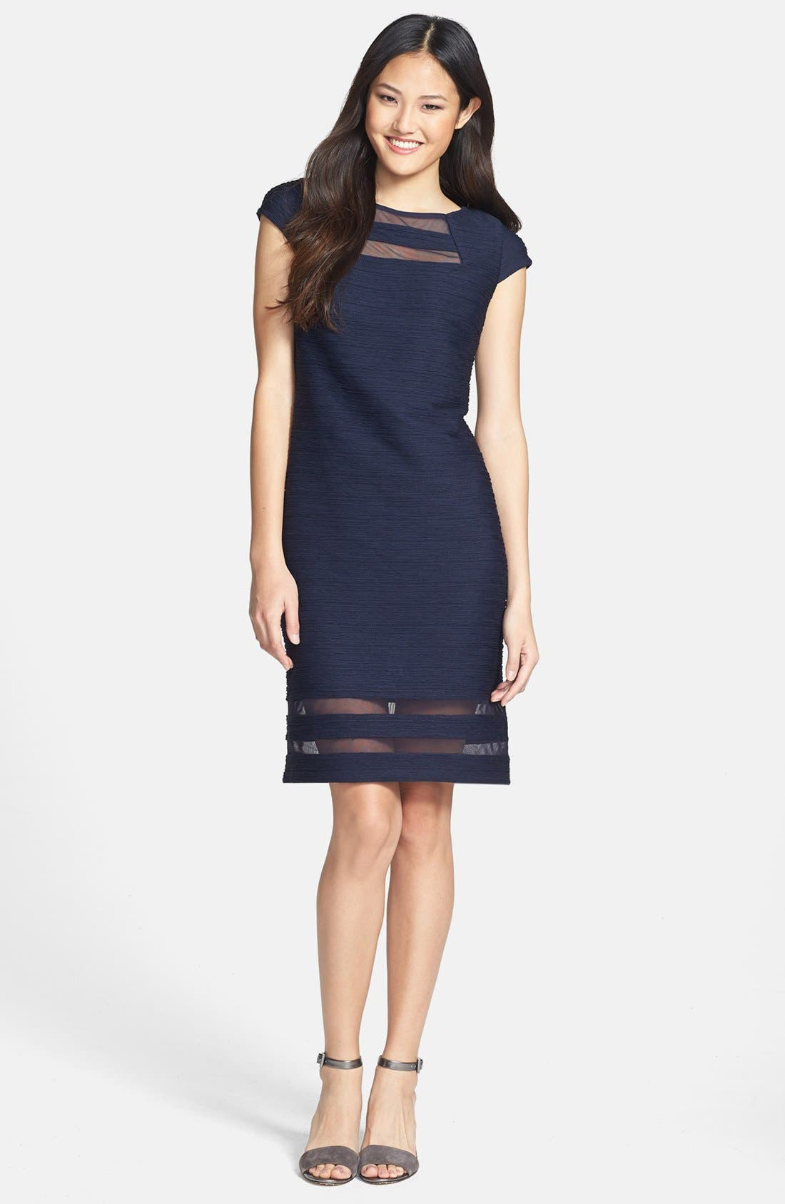 Alternate Image 1 Selected - Taylor Dresses Illusion Banded Stretch Knit Sheath Dress