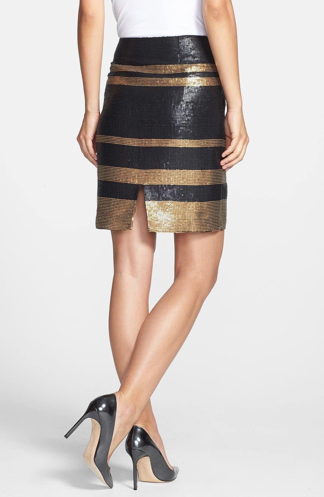 Alternate Image 2  - Adrianna Papell Stripe Sequin Pencil Skirt
