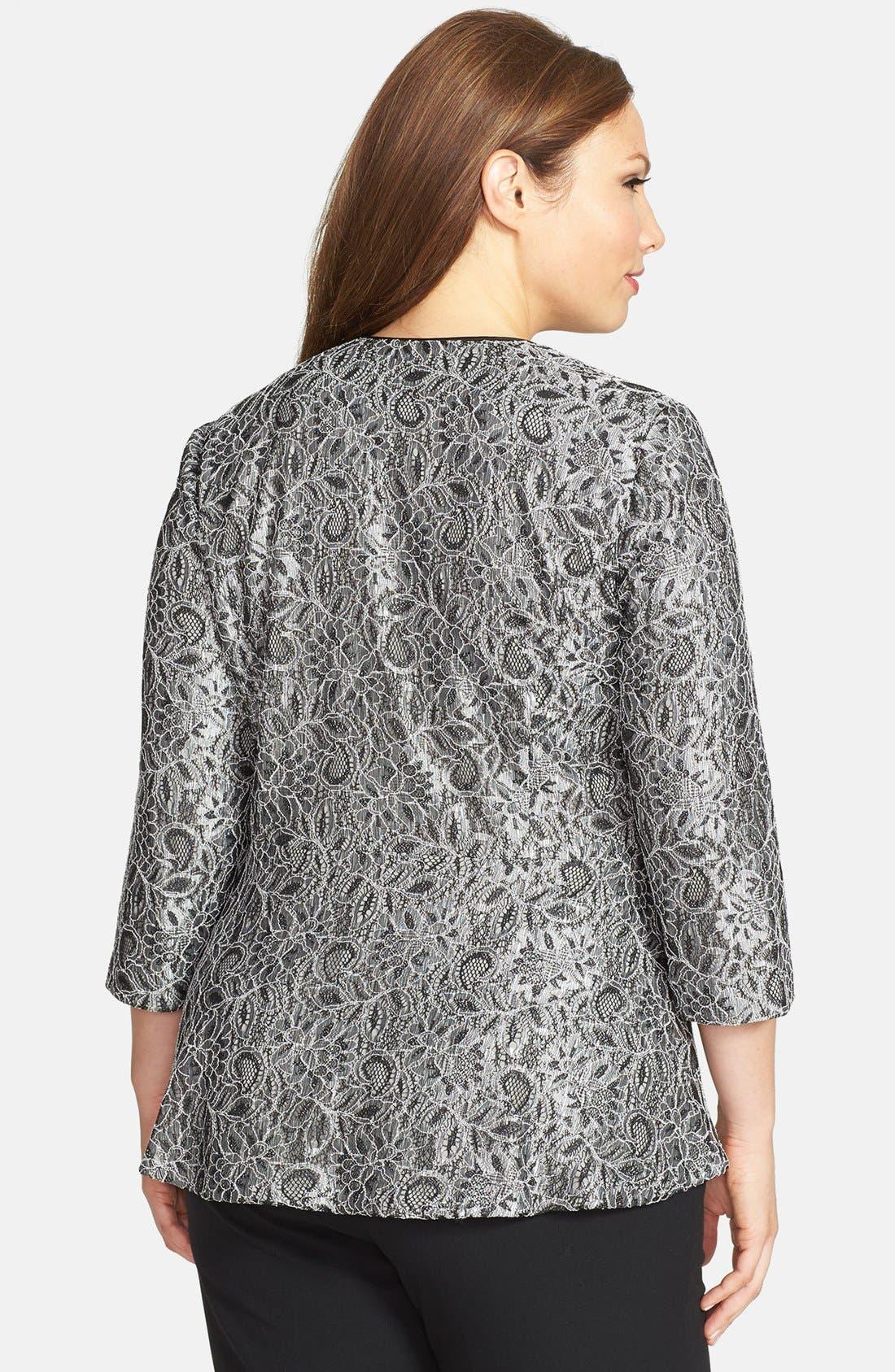 Alternate Image 2  - Alex Evenings Collarless Metallic Lace Jacket (Plus Size)