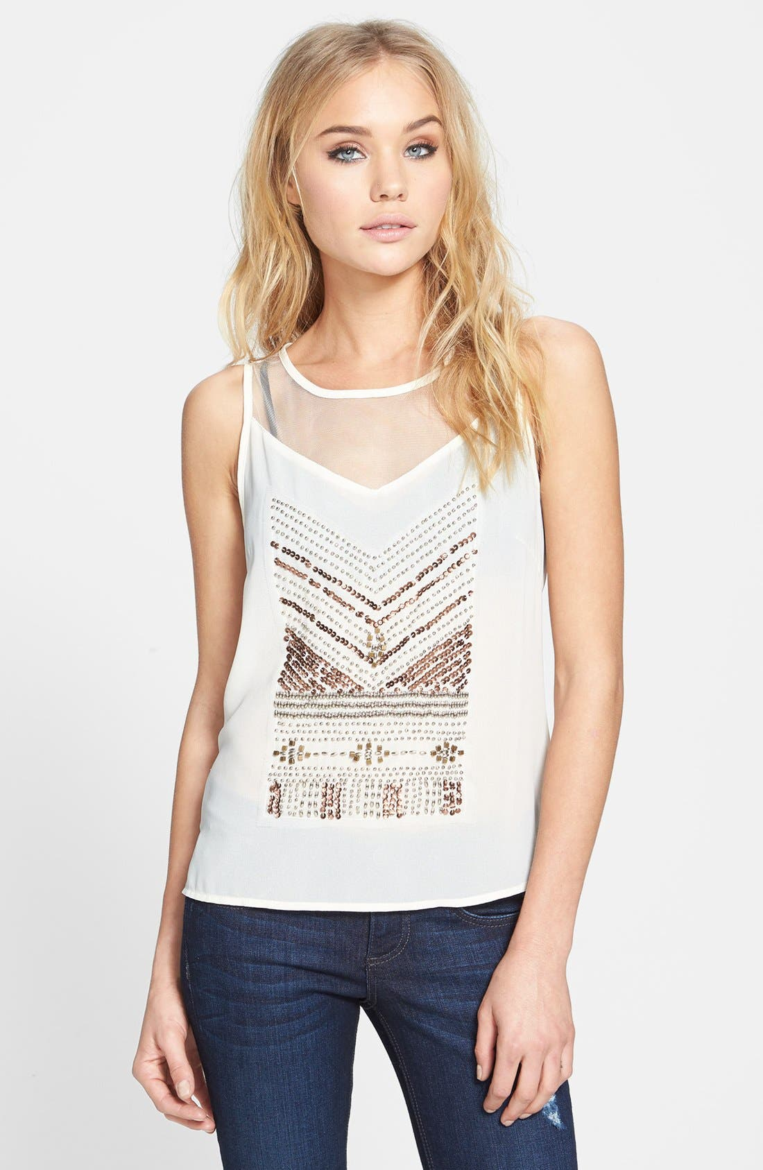 Main Image - ASTR Beaded Front High/Low Tank