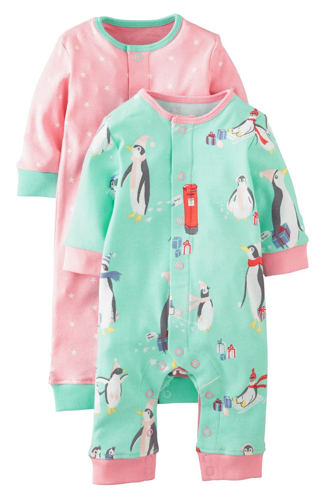 Main Image - Mini Boden Print Romper (2-Pack) (Baby Girls)