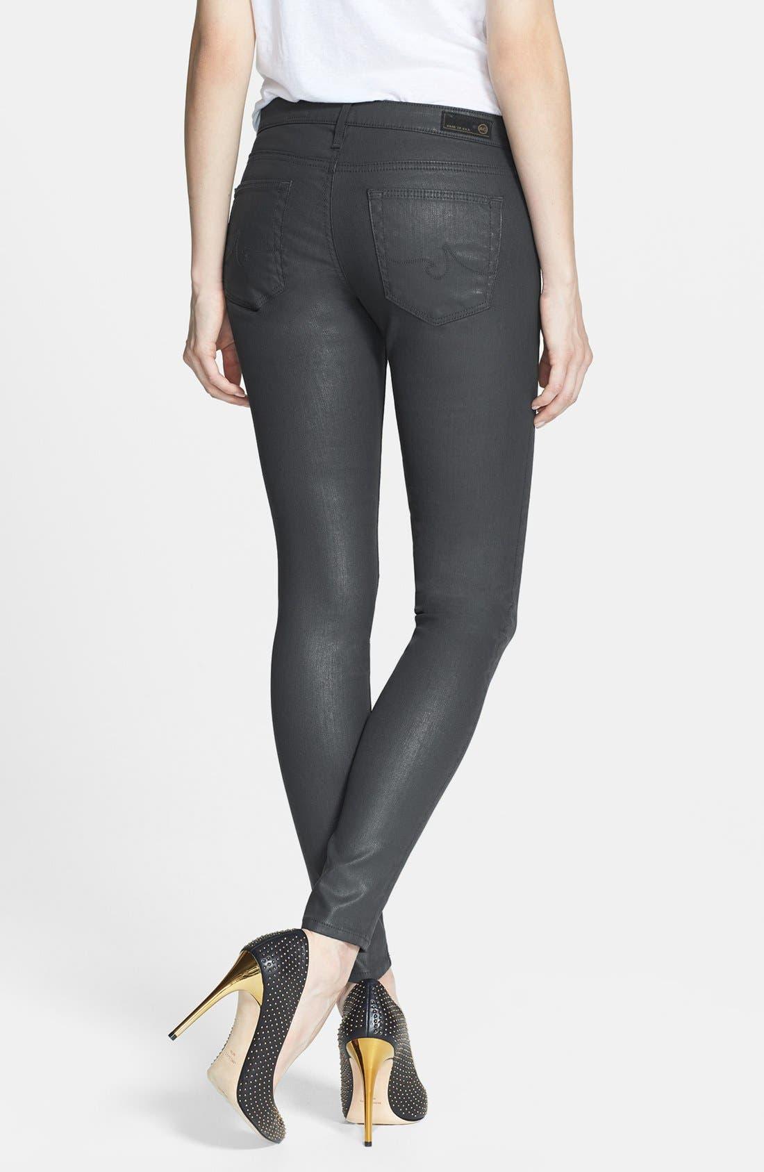 Alternate Image 2  - AG 'The Absolute Legging' Coated Skinny Jeans (Dark Grey)