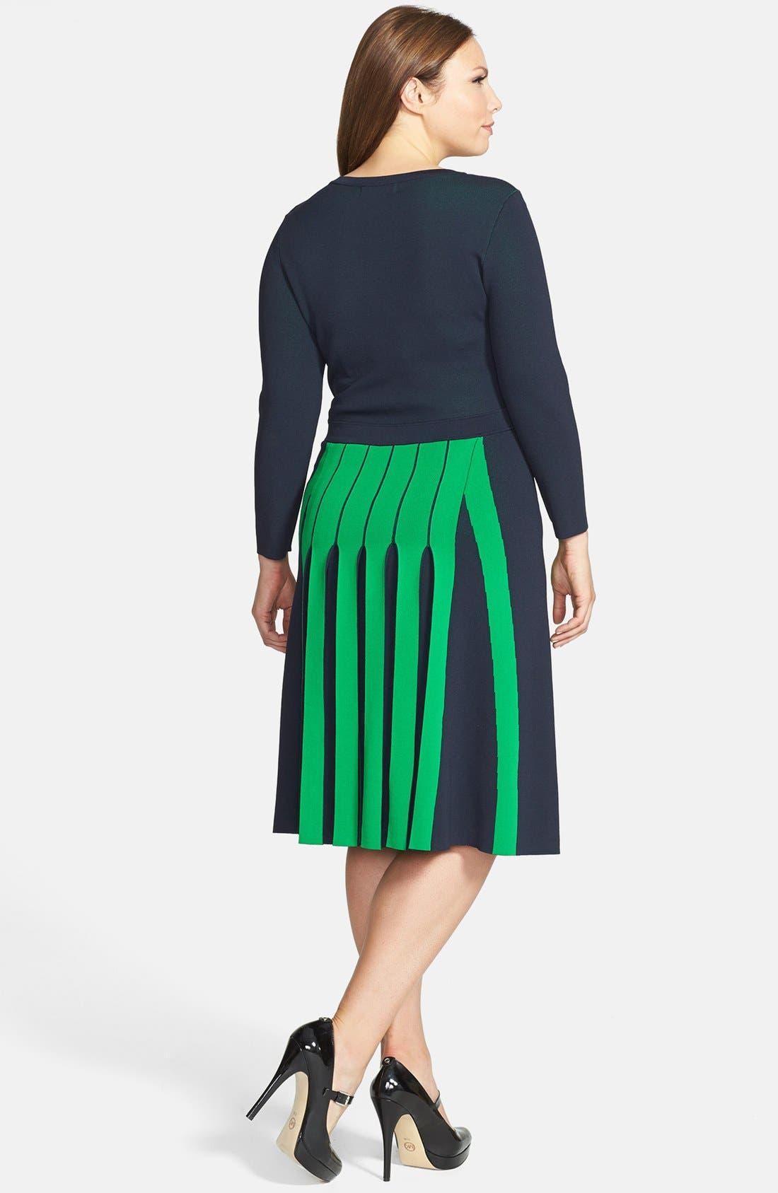 Alternate Image 2  - MICHAEL Michael Kors Colorblock Pleated Fit & Flare Sweater Dress (Plus Size)
