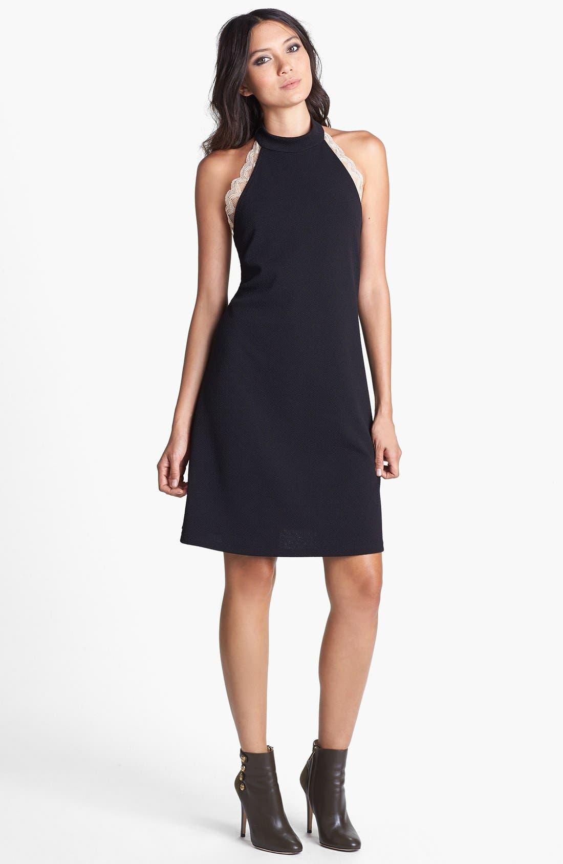 Main Image - June & Hudson Lace Trim Halter Dress