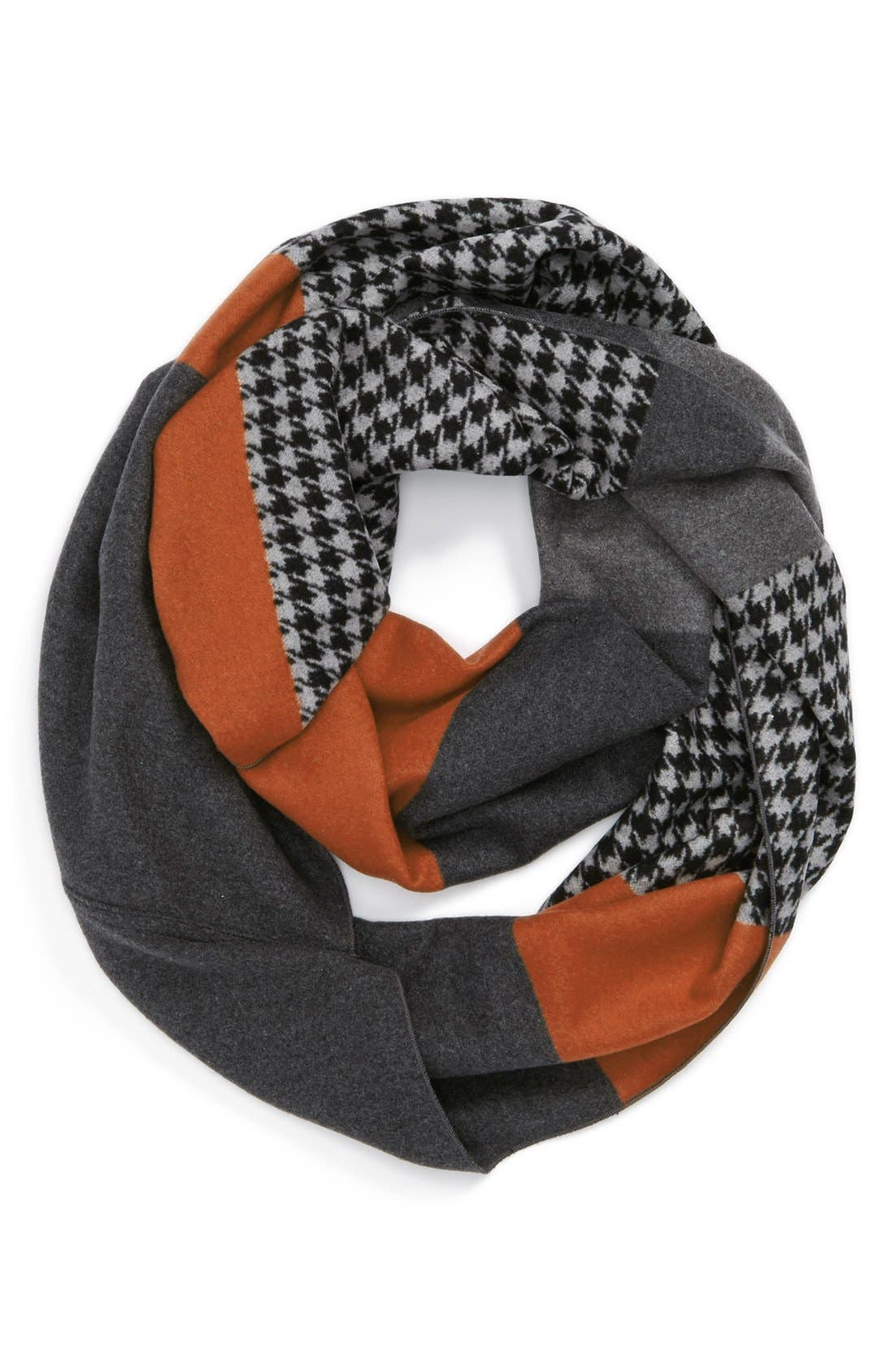 Main Image - Chelsey Houndstooth Colorblock Infinity Scarf