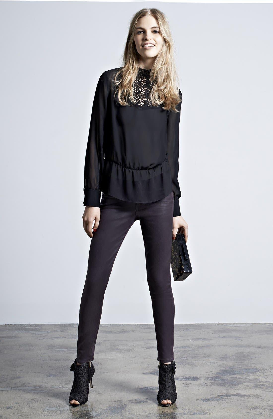 Alternate Image 6  - Hinge® Lace Mock Neck Sheer Top