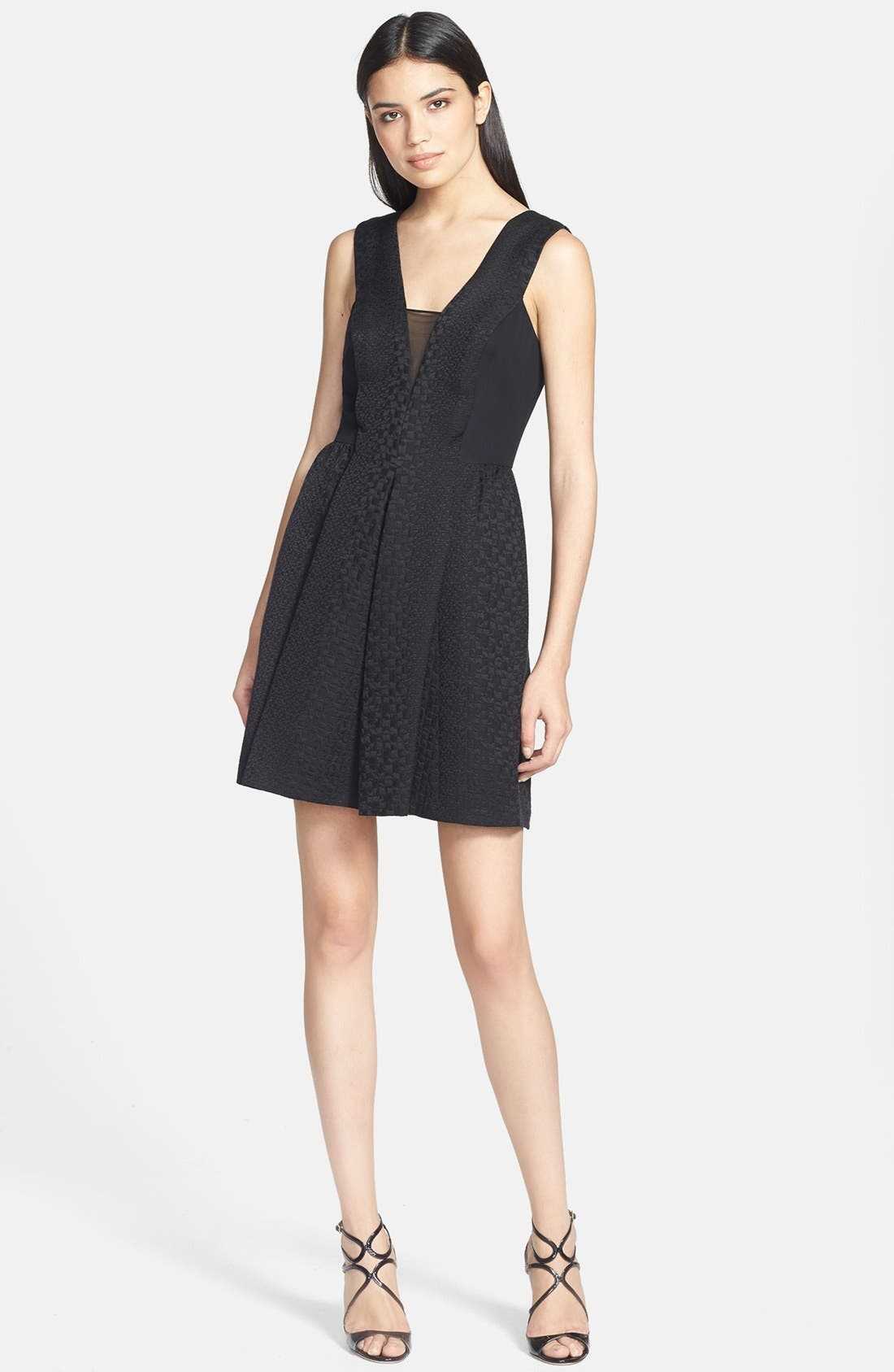 Alternate Image 1 Selected - Rebecca Taylor Mesh Inset Cloqué Fit & Flare Dress